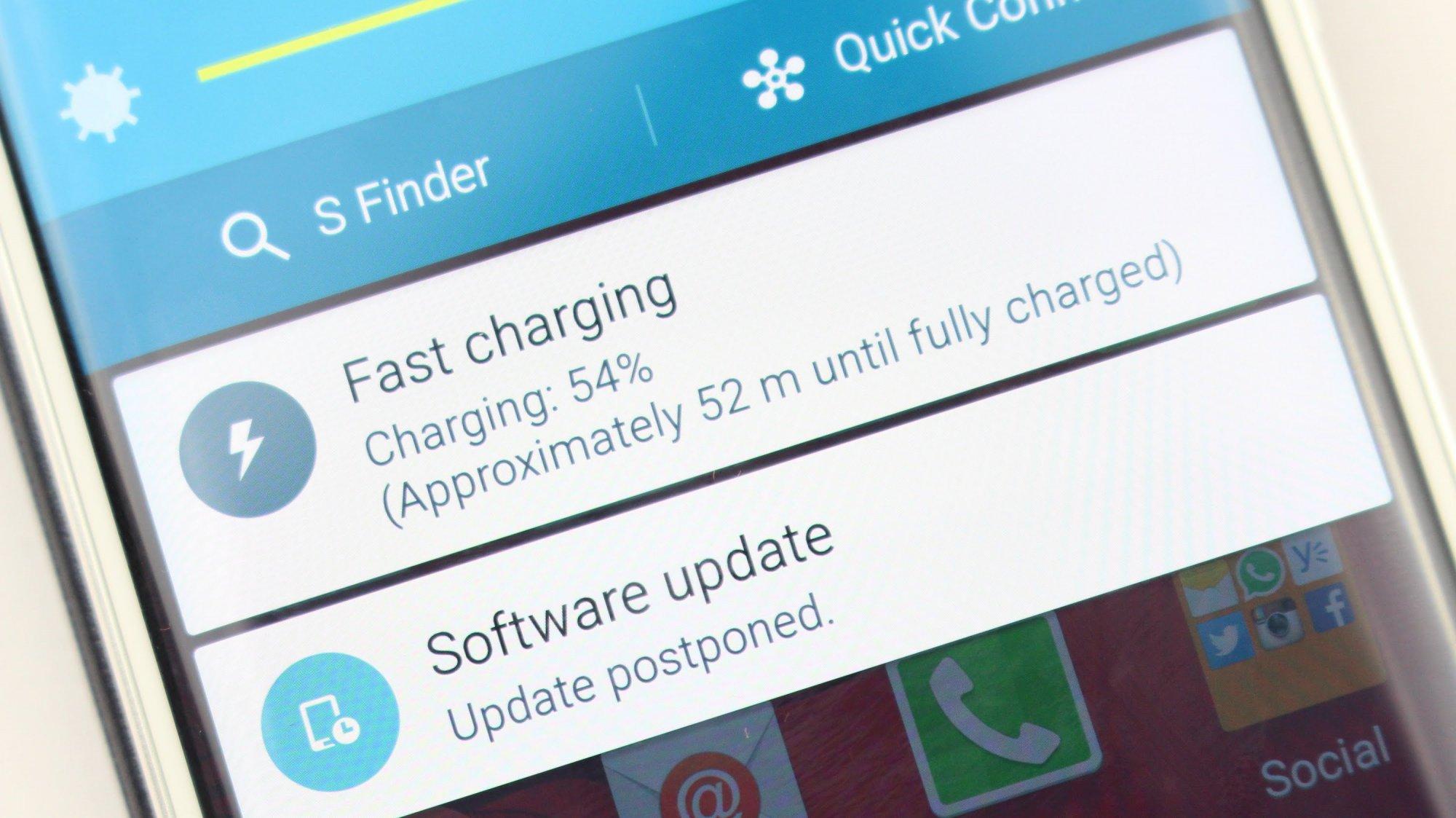 Báo chế độ sạc nhanh Samsung S7