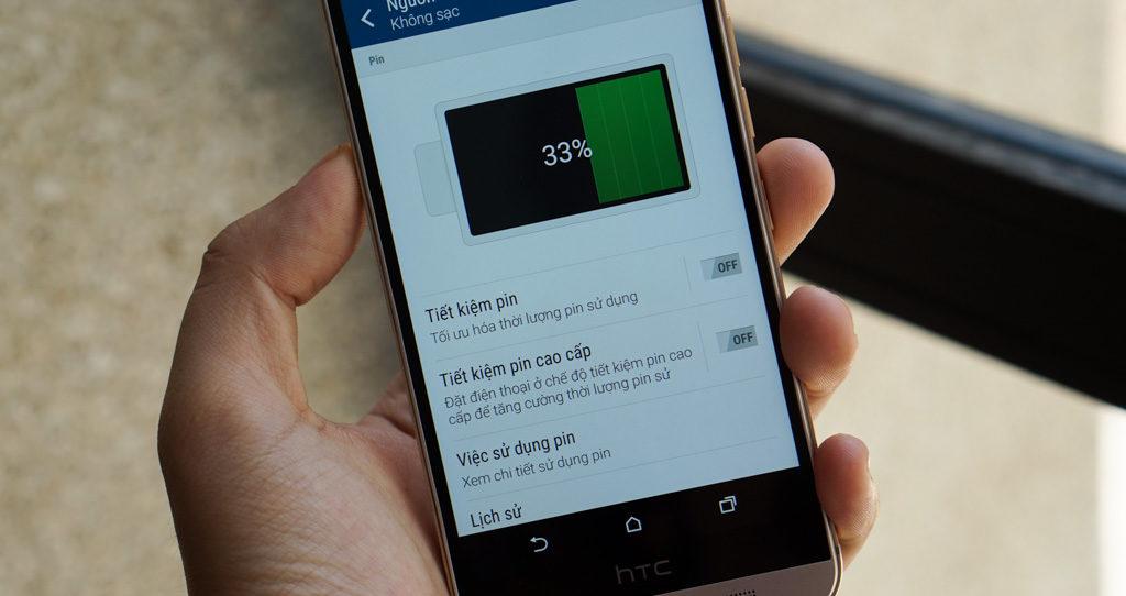 HTC One M8 hao pin nhanh, tụt pin nhanh.
