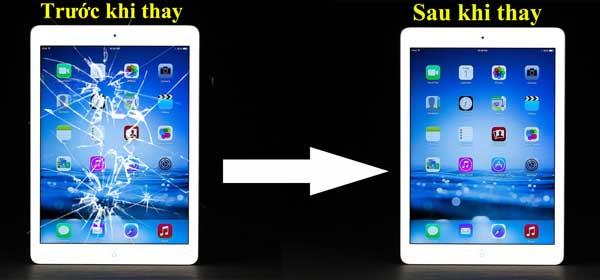 Mặt kính iPad Mini 2 trước và sau khi thay thế