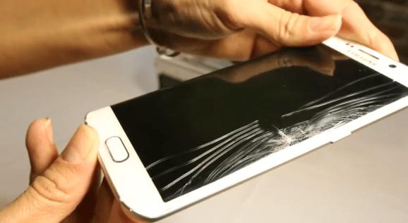 Samsung S6 Edge bị rơi vỡ kính và mất nguồn.