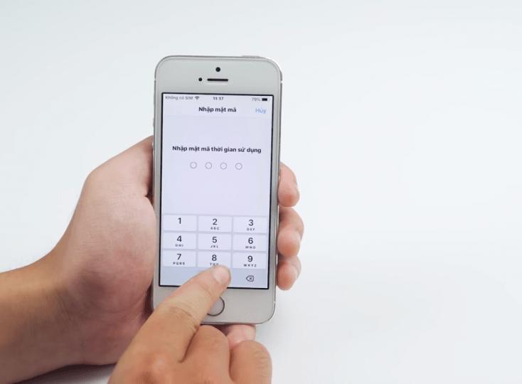 Nhập lại mật khẩu trong giới hạn sử dụng để kiểm tra
