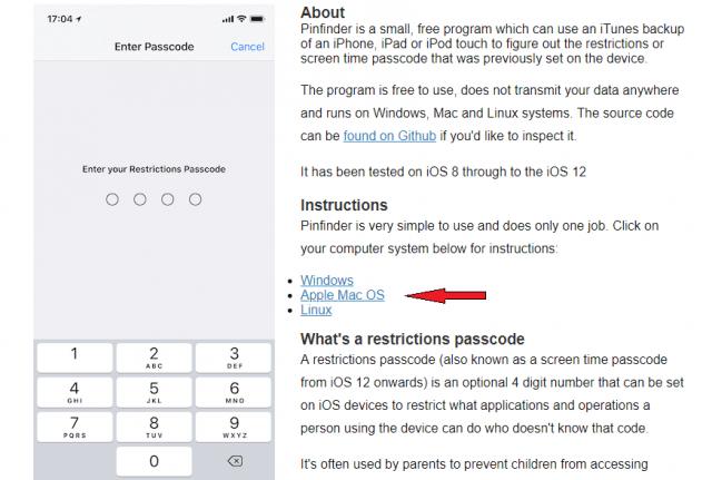 Sử dụng Pinfinder cho Mac OS