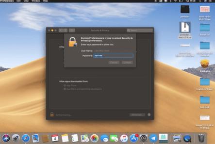 Nhập mật khẩu máy Mac để tải ứng dụng